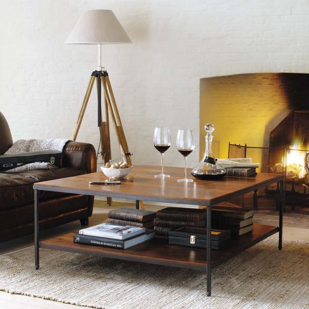 Table Basse Carree Luberon Couchtisch Quadratisch Wohnzimmertisch Holz Couchtisch