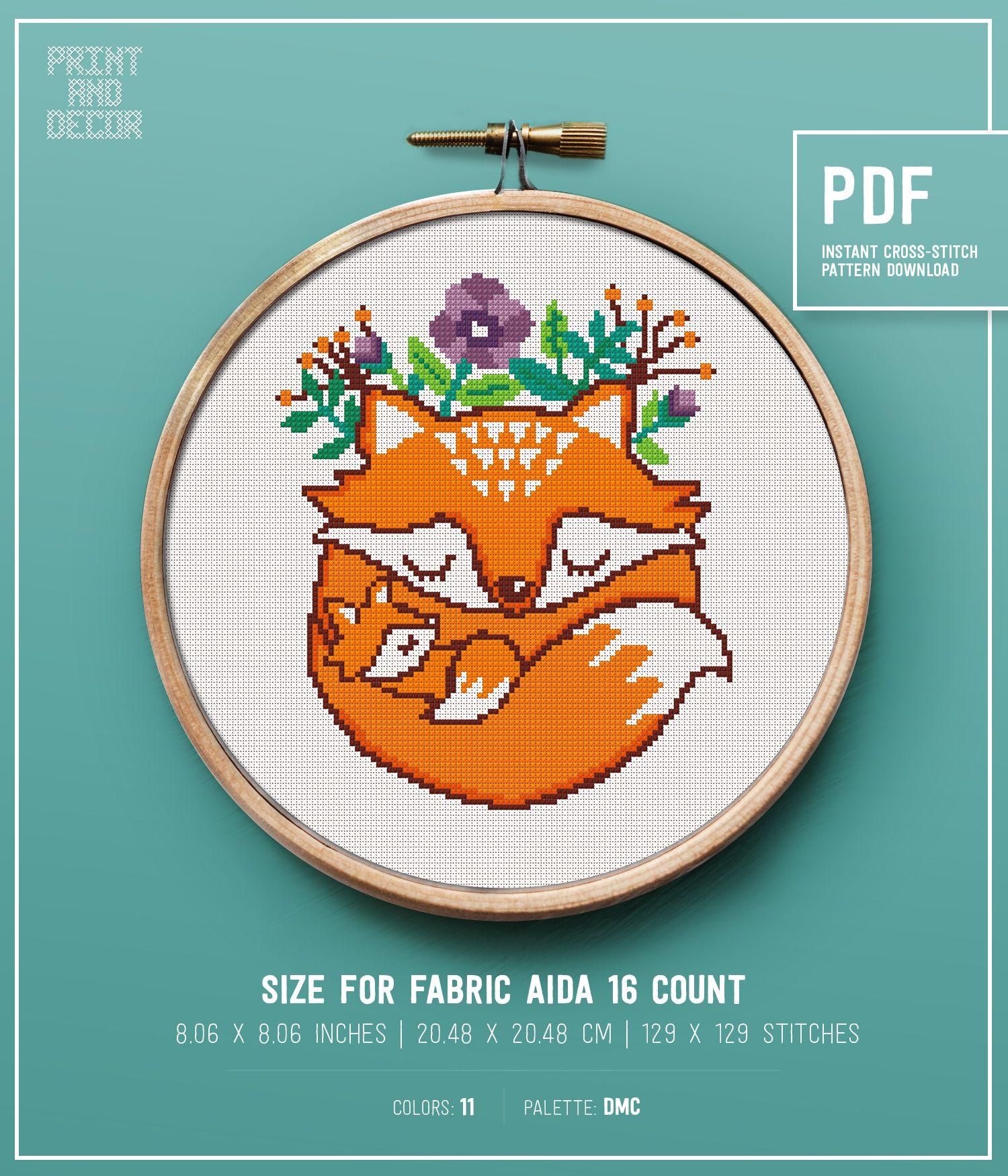 Modern cross stitch pattern baby fox cute forest animal
