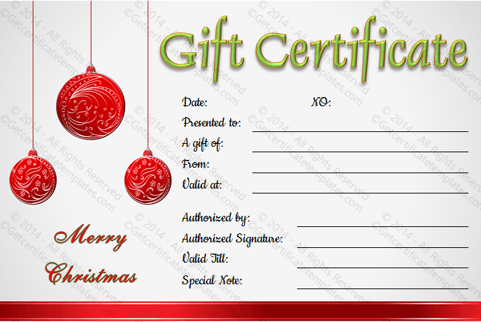 Gift Certificate Template – Free Printable Holiday Gift Certificates