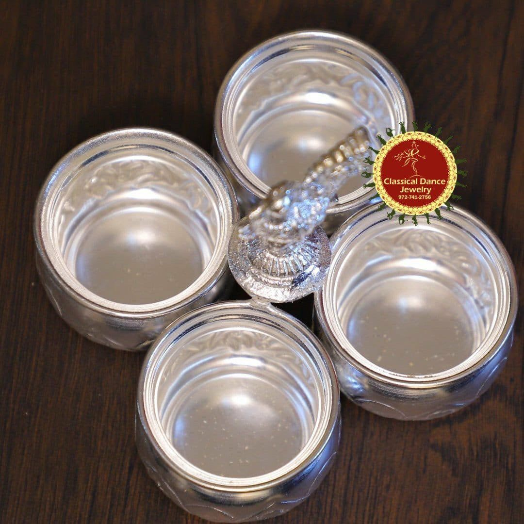 German Silver washable 4 cups pooja item for Retur