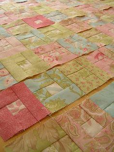 Tea Rose Home: Tutorial ~ Square in Square Quilt (Honey Bun fabric)