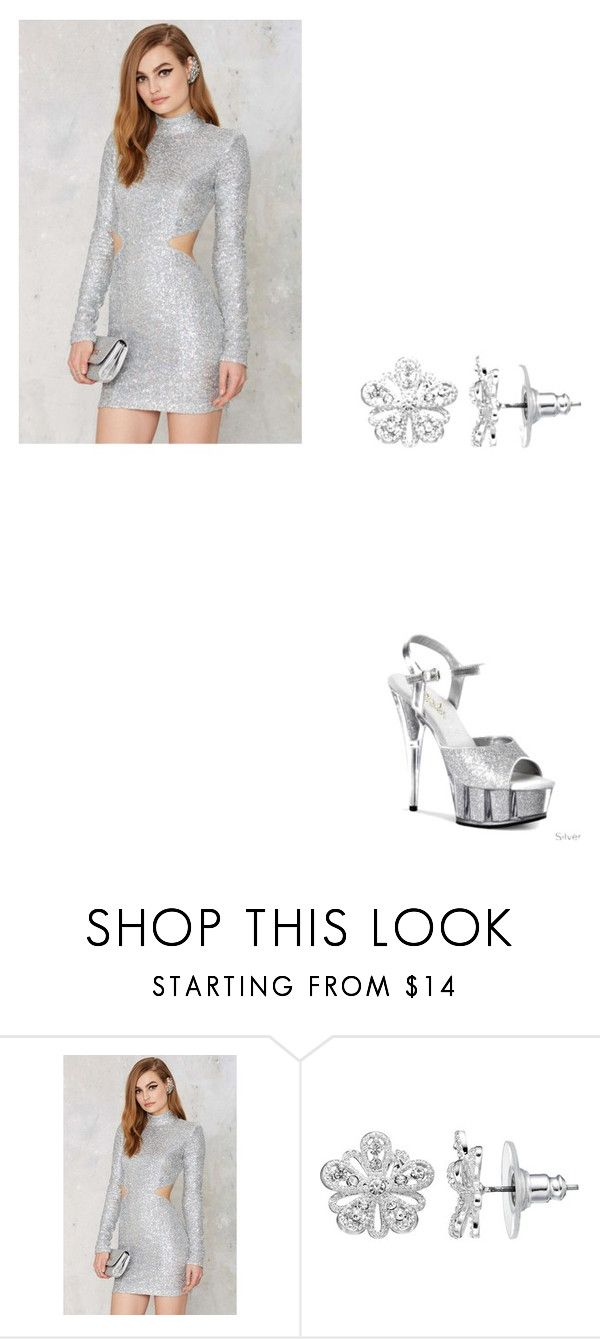 """""""Silver Belle"""" by pjhappy ❤ liked on Polyvore featuring REHAB, LC Lauren Conrad and Pleaser"""