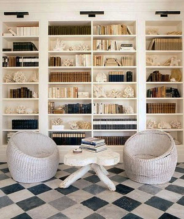reclaimed stone floor builtin bookcases coastal styling home decor and interior decorating ideas