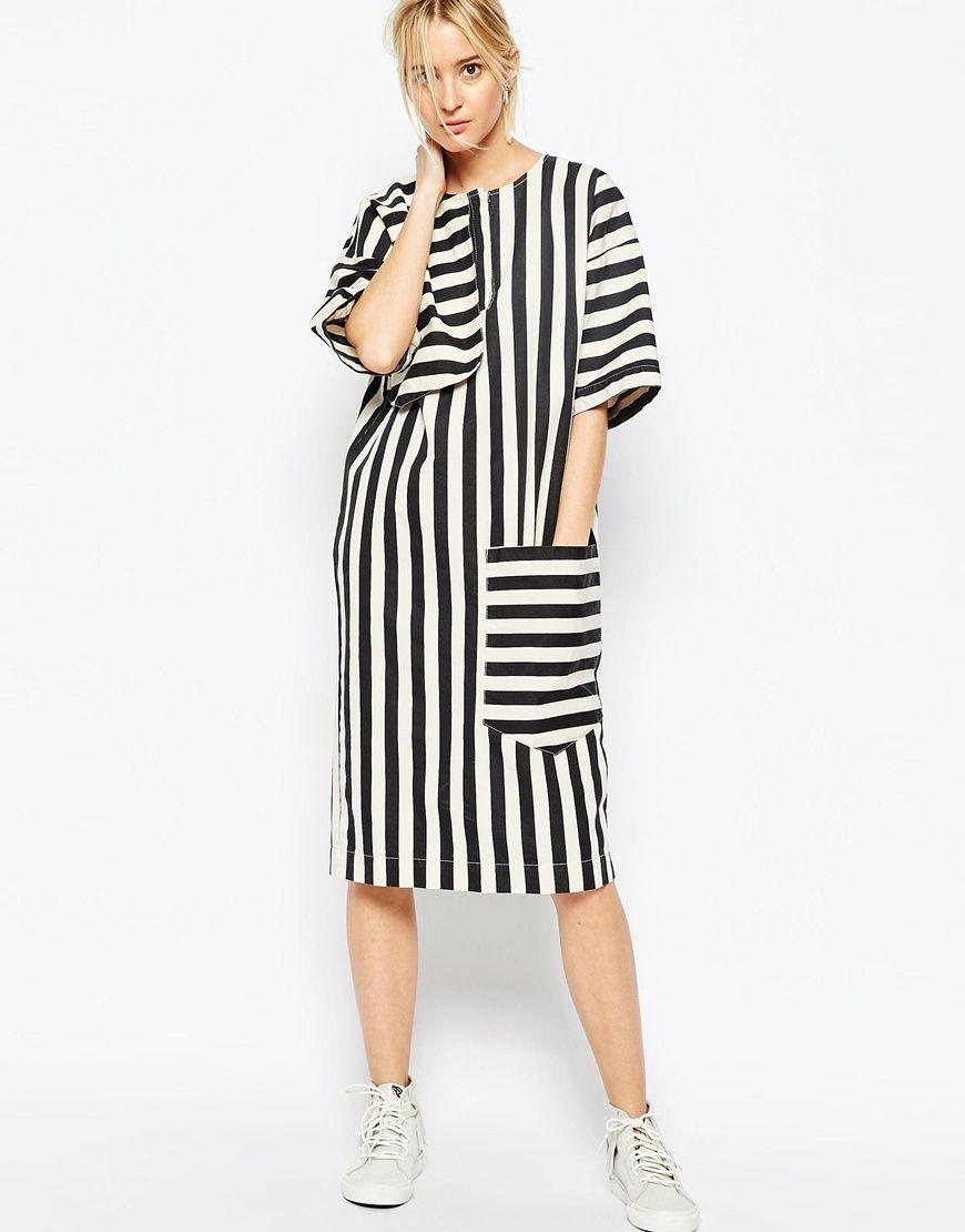 7b86c3fc8f Image 4 of ASOS WHITE Denim Midi Dress in Stripe White Denim