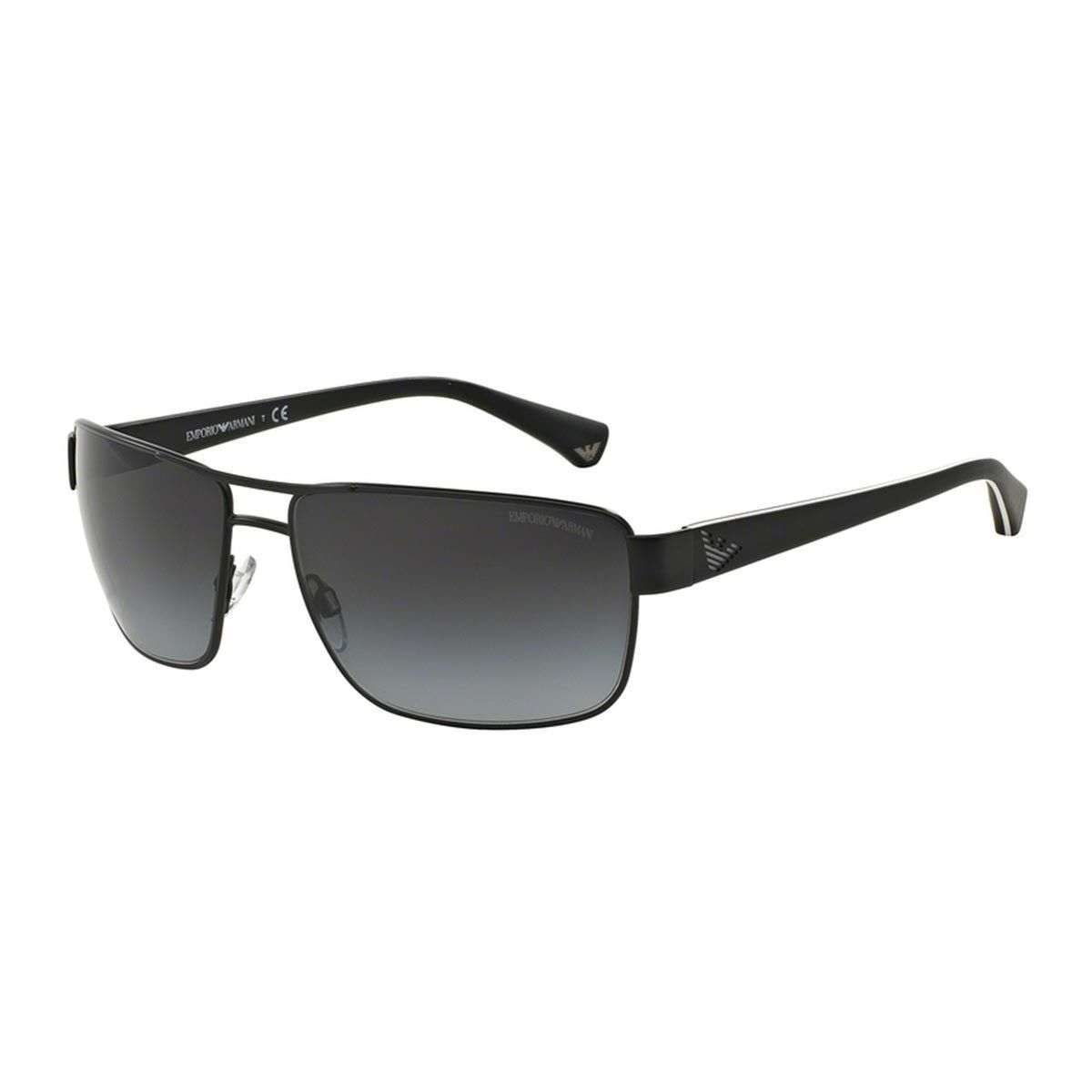 f1902ee17a59 Emporio Armani Men s Black Metal Rectangle Sunglasses by Emporio Armani