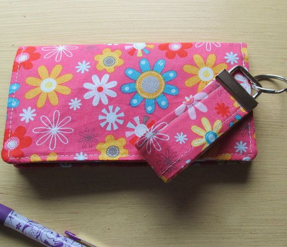 Pink Floral Checkbook Cover And Matching Key Fob by bungalowquilts, $18.00