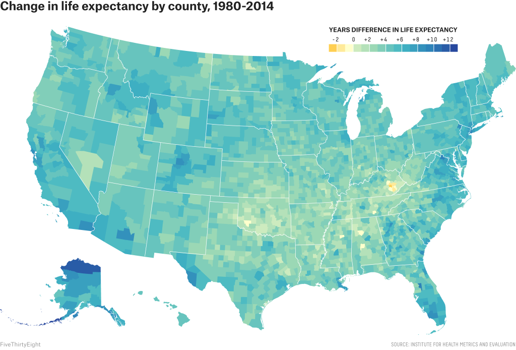 Change in life expectancy by US county 19802014 United States