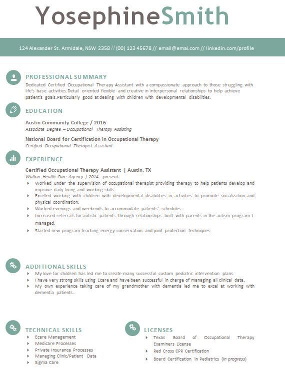 Occupational Therapy Resume Screenshot resume Pinterest