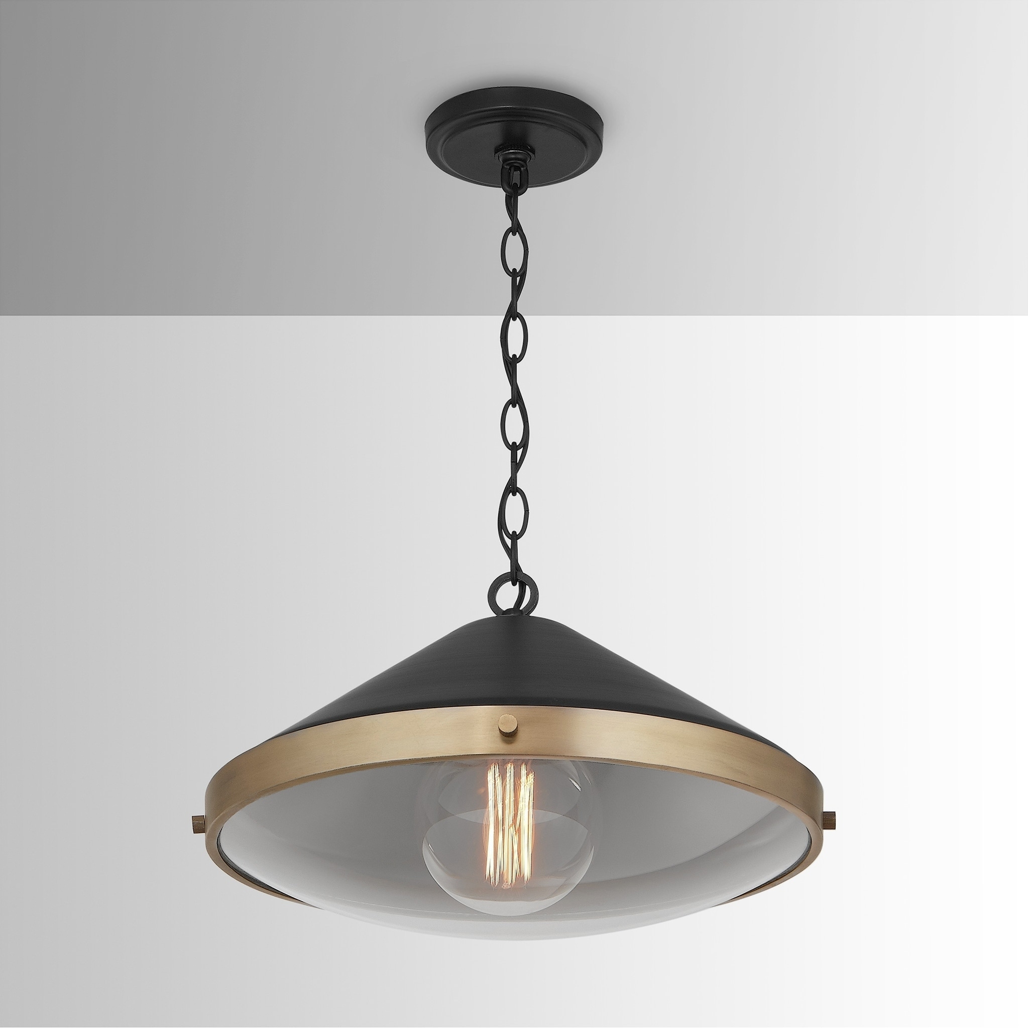 Strick Bolton Rexha 1 Light Aged Brass Black Pendant In 2020