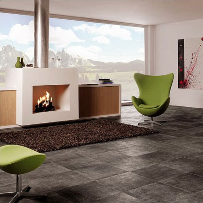 Interior Creative Ceramic Floor Tiles Arketipo Dark Color With Green Modern Chair And Fireplace Awesome Wood Tile Designs