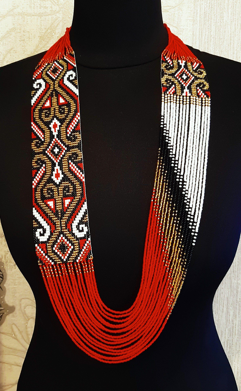 Handmade Jewelry Ukrainian Jewelry Beaded Necklace Ukrainian traditional necklace Gerdan long necklace Folk Ukrainian gerdan