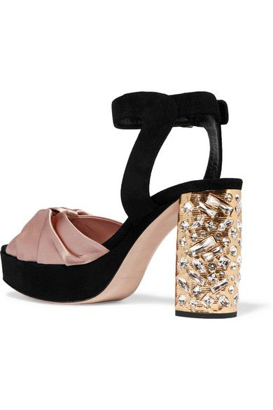 Crystal-embellished Satin Sandals - Antique rose Miu Miu