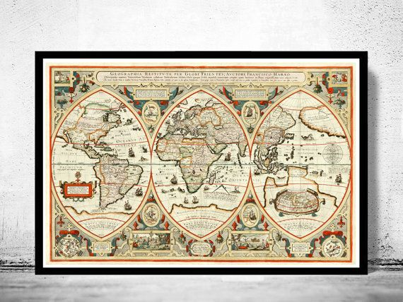 Antique world map 1618 vintage maps triptych and 17th century antique world map 1618 by oldcityprints on etsy gumiabroncs Gallery