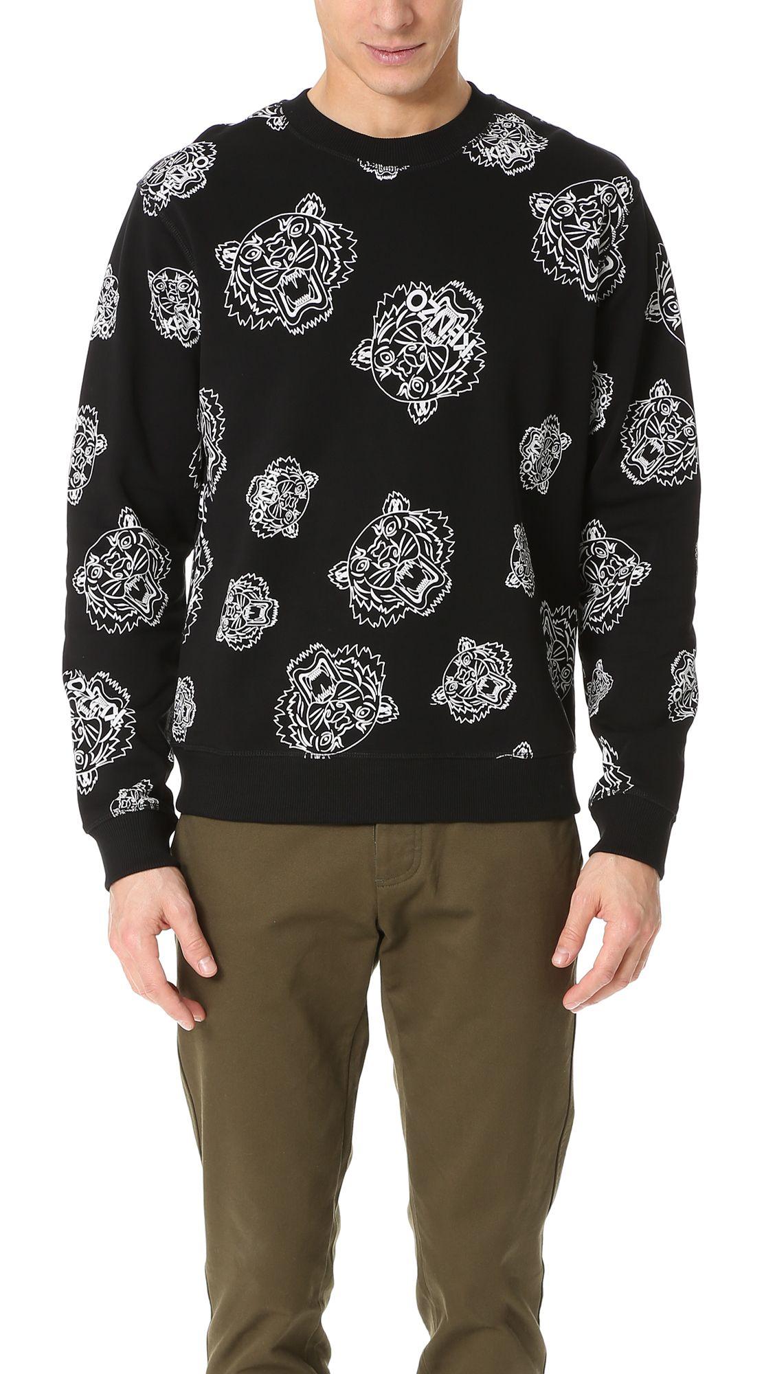 337748d52978 KENZO Allover Tiger Print Crew Sweatshirt.  kenzo  cloth  sweatshirt ...