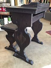 Santa Barbara Mission Style C 30s Dark Wood Carved Writing Desk And Bench Dark Wood Wood Writing Desk Wood Carving