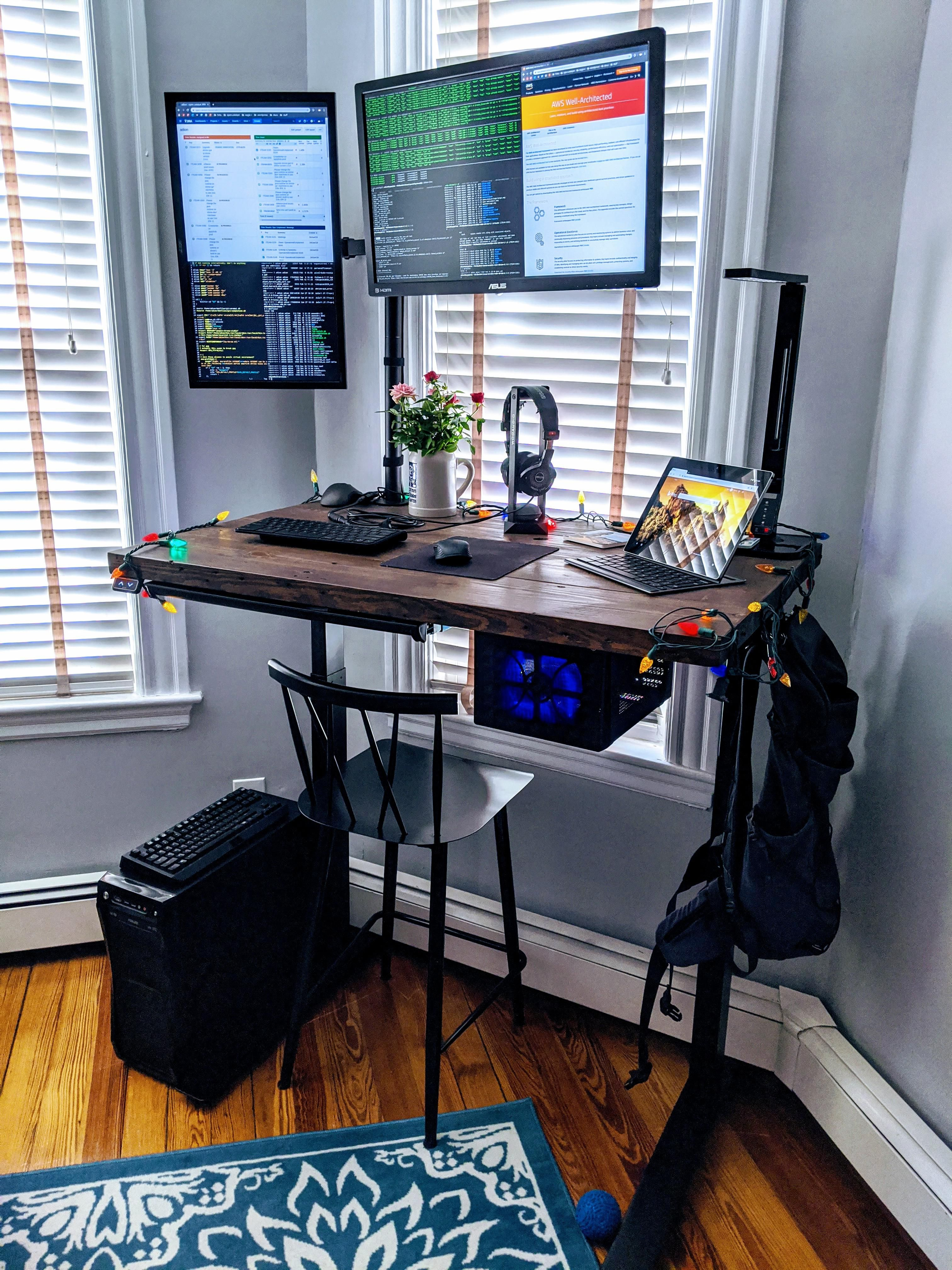 Sit/Stand Work/Play in 2020 Pc setup, Computer setup