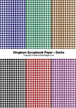 Gingham Scrapbook Paper Dark Collection Scrapbooking Digital
