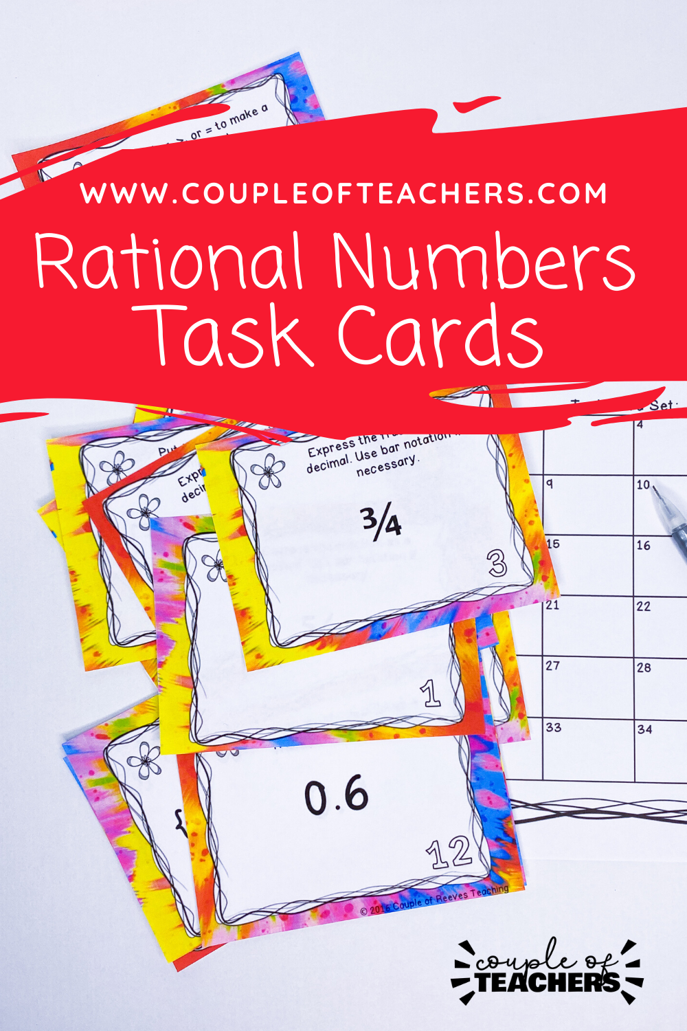 Rational Numbers Task Cards Google Slides and PDF