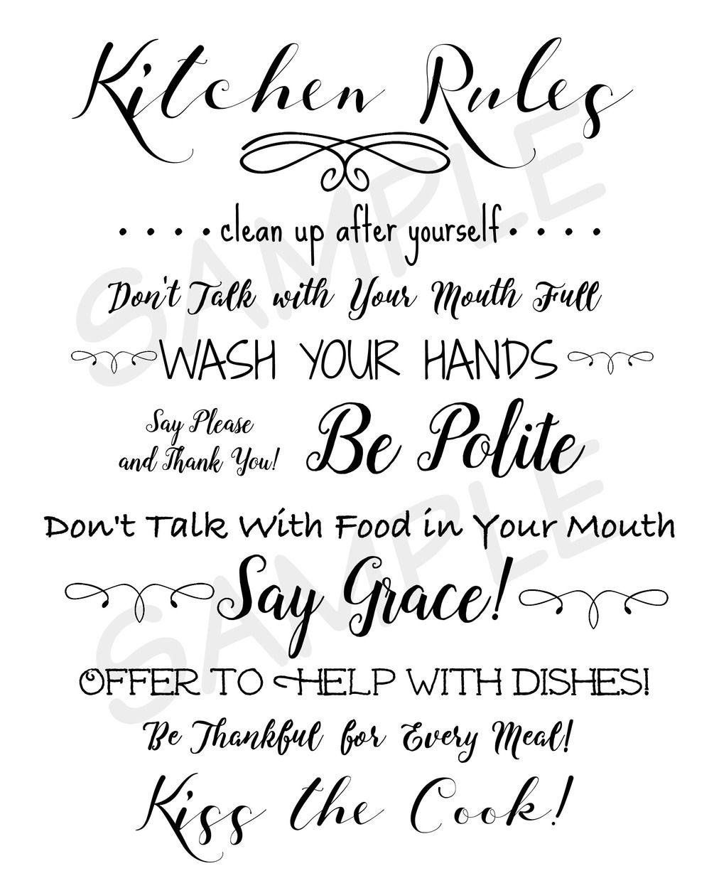 kitchen rules printable kitchen rules kitchen printables kitchen rules sign on kitchen quotes printable id=44846