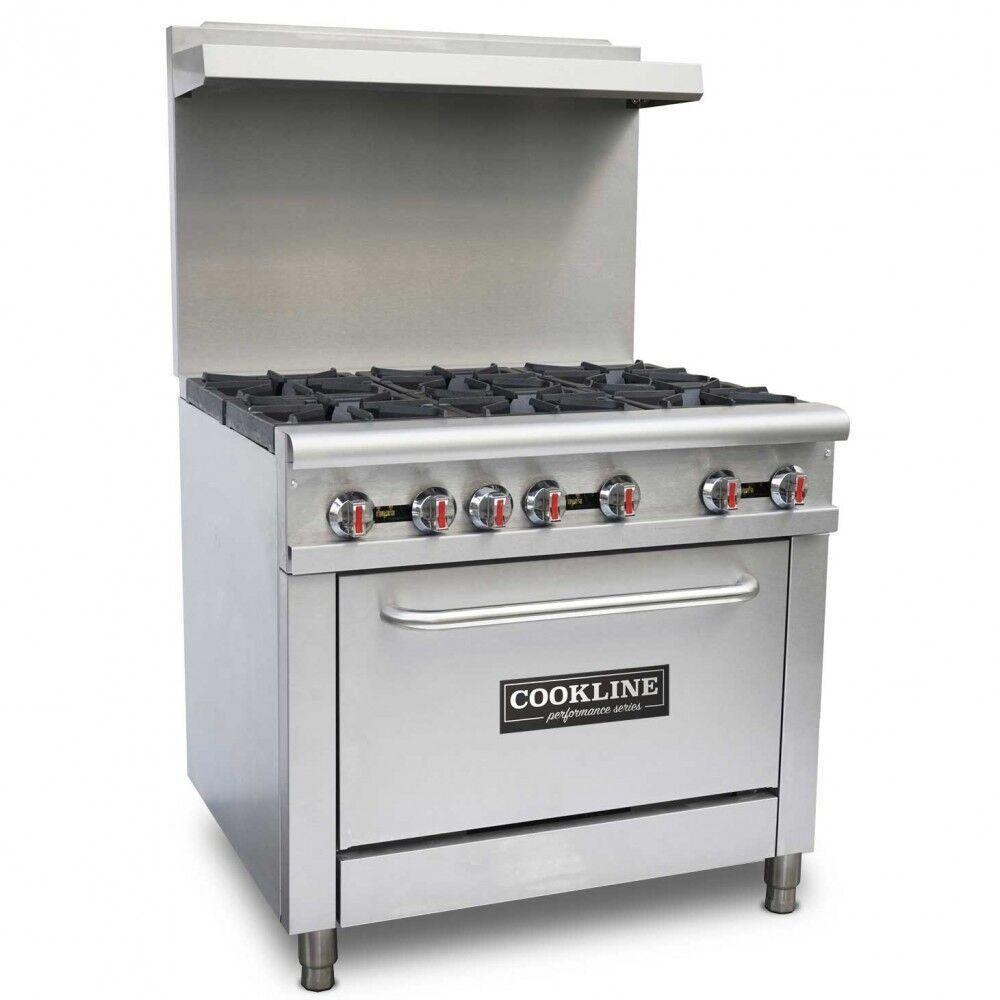 Commercial Kitchen 6 Burner Restaurant Range with Oven 36 ...
