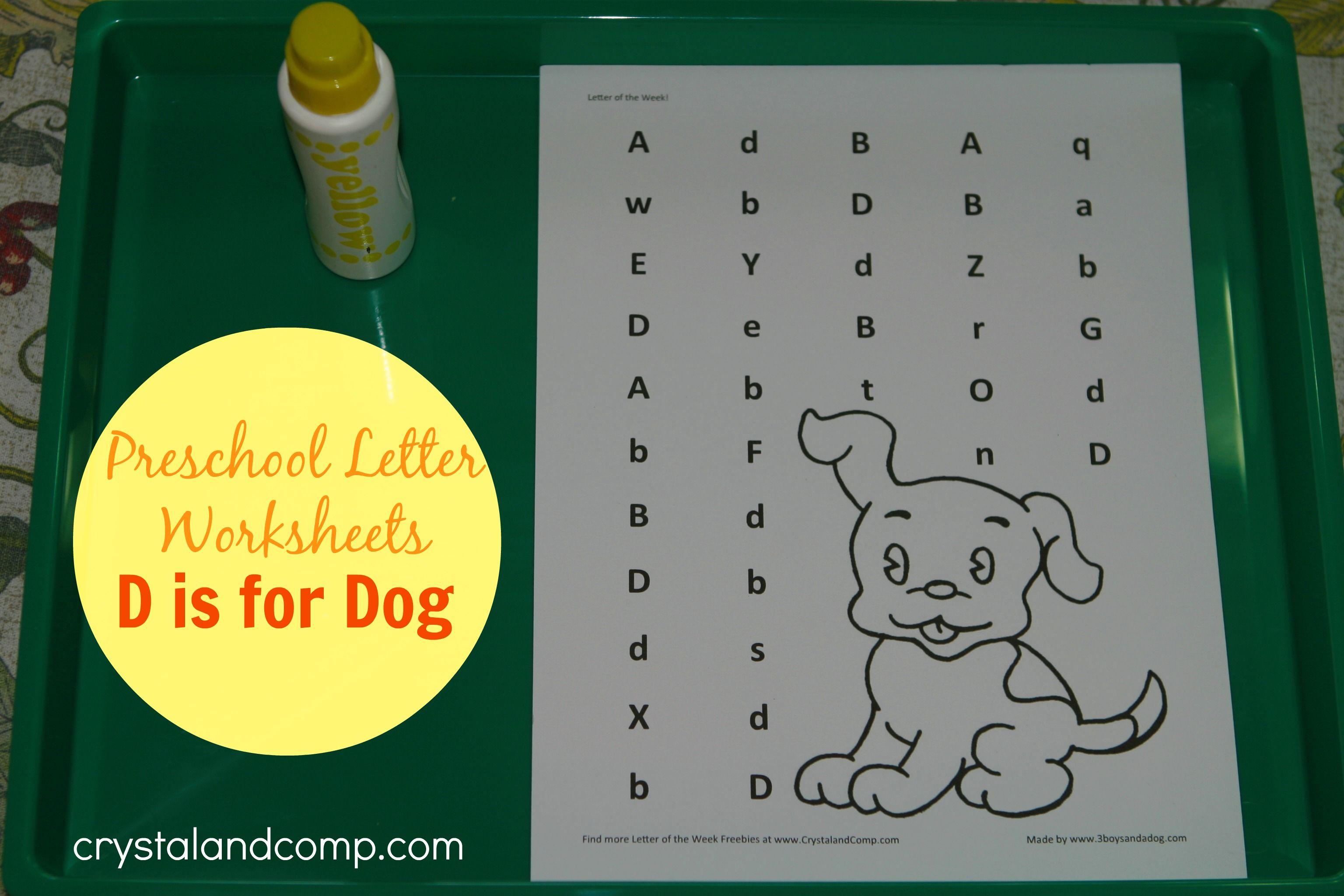 Preschool Letter Worksheets D Is For Dog