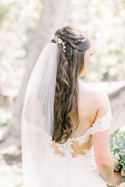 simple half up wedding hair style with veil | temecula creek