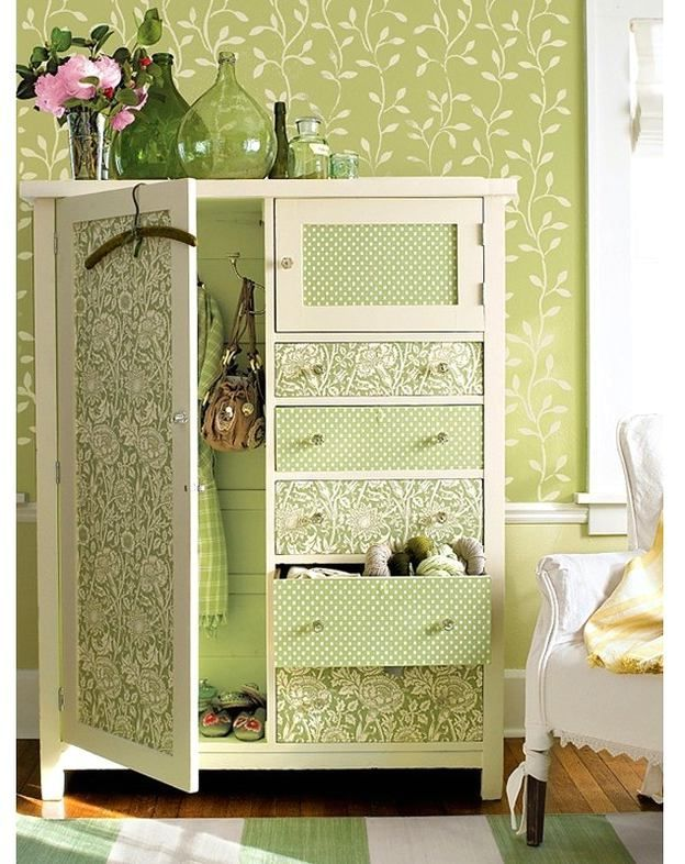 декор мебели обоями - платяной шкаф | Furniture Re-do | Pinterest ...