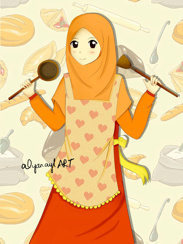 Gambar Kartun Muslimah Memasak Gambar Kartun