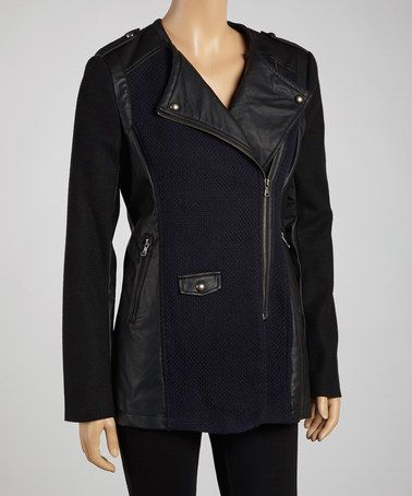 Take a look at this Navy Torie Asymmetrical Zipper Jacket by Collection B on #zulily today!