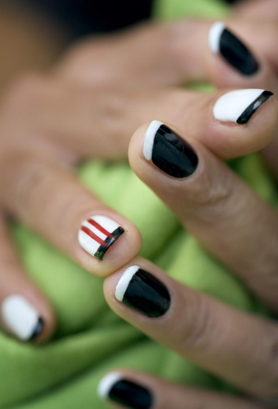 cool black and white nails