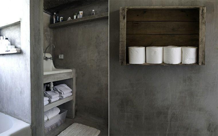 béton salle de bain gris foncé design moderne mur Salle de bain - Salle De Bain Moderne Grise