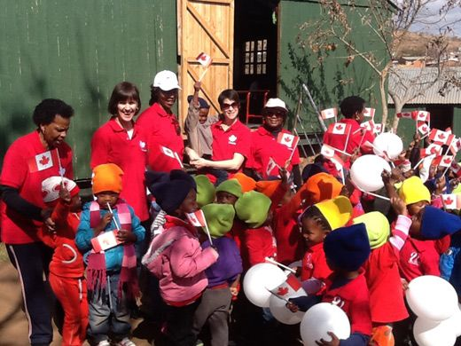 Staff of the High Commission of Canada providing entertainment at Viva Daycare in Alaska Informal Settlement, Mamelodi East. Picture: iWitness