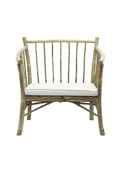 Lounge stol bambus med hvid hynde Tine K. | Møbelideer