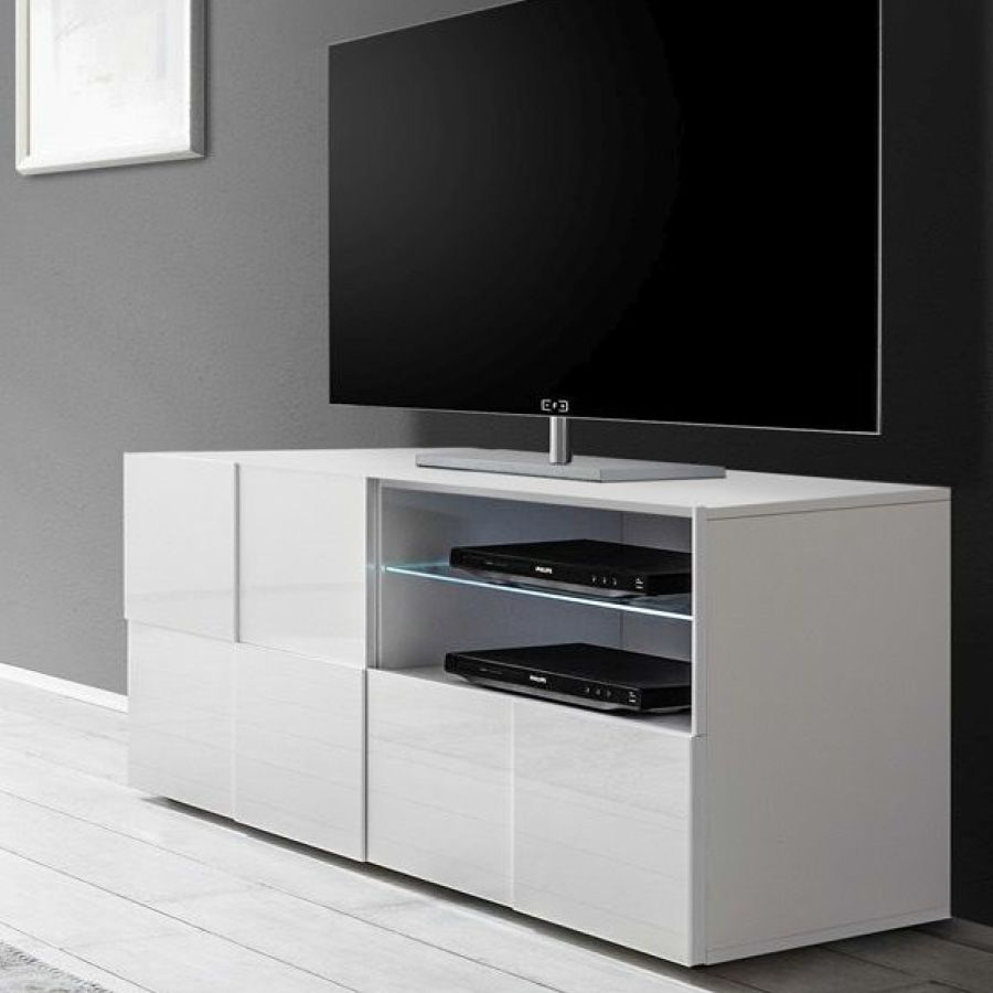 petit meuble tv blanc laqu brillant artic meuble tv meuble tv meuble tv moderne et meuble. Black Bedroom Furniture Sets. Home Design Ideas
