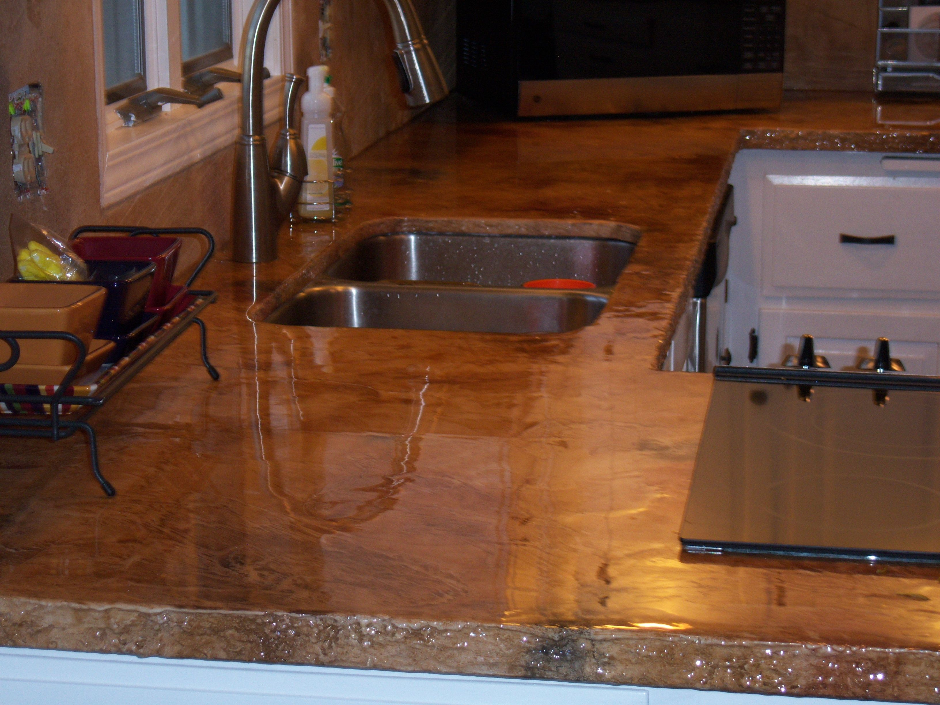 Stained Concrete Countertops Diycustom Seamlesss Concrete Countertop Overlay  Seamless Back Pmgqwo