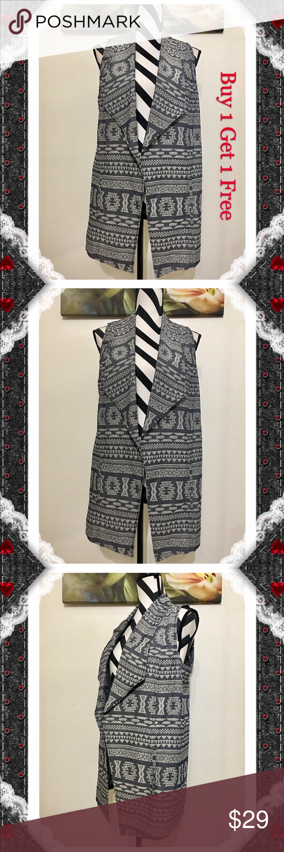 1. State Open Front Print Vest Printed vests, Clothes