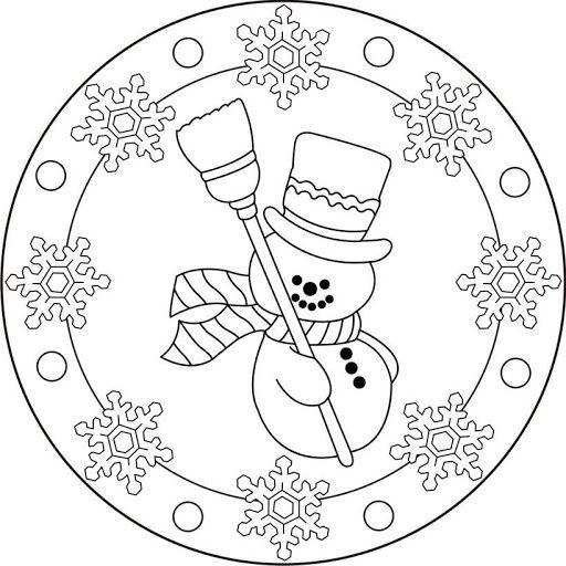Snowman Mandala Coloring 2 Christmas Mandala Christmas