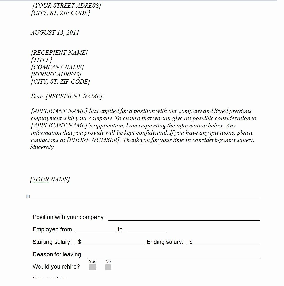 Fresh Employment Verification form Template in 2020