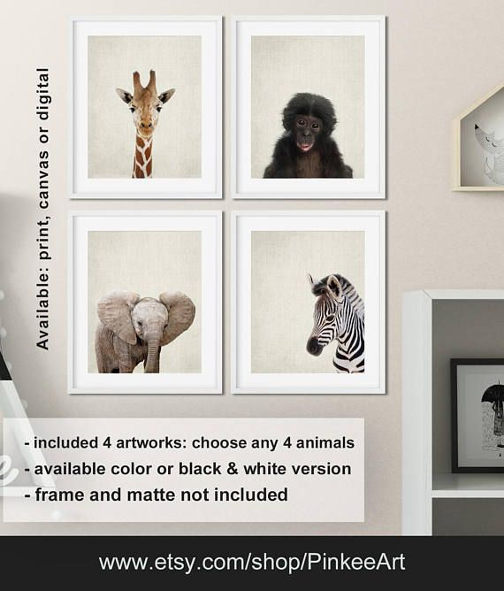 safari animal kid print modern nursery decor african animals baby