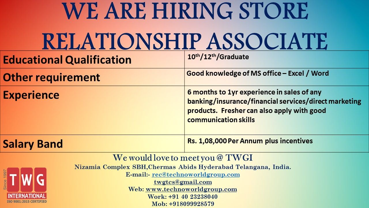 We Are Hiring Store Relationship Associate We Would Love To
