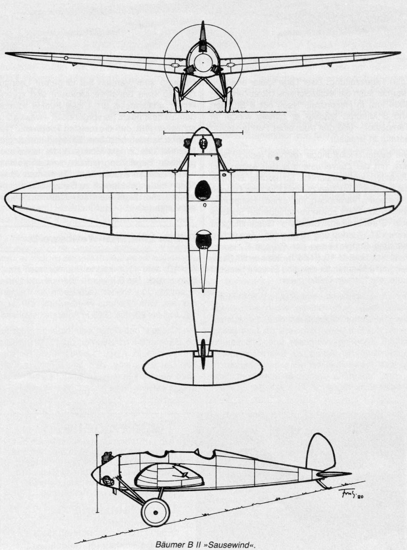 Diagram Of An Airplane Bumer B Ii Sausewind 1925 German Sports Plane