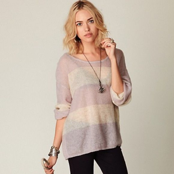 Free People wide stripes pullover Oversized light purple and white ...