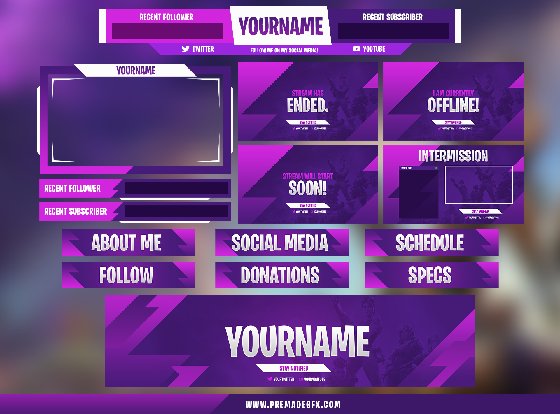 fortnite twitch pack premadegfx banners | Wiplocker Gamer