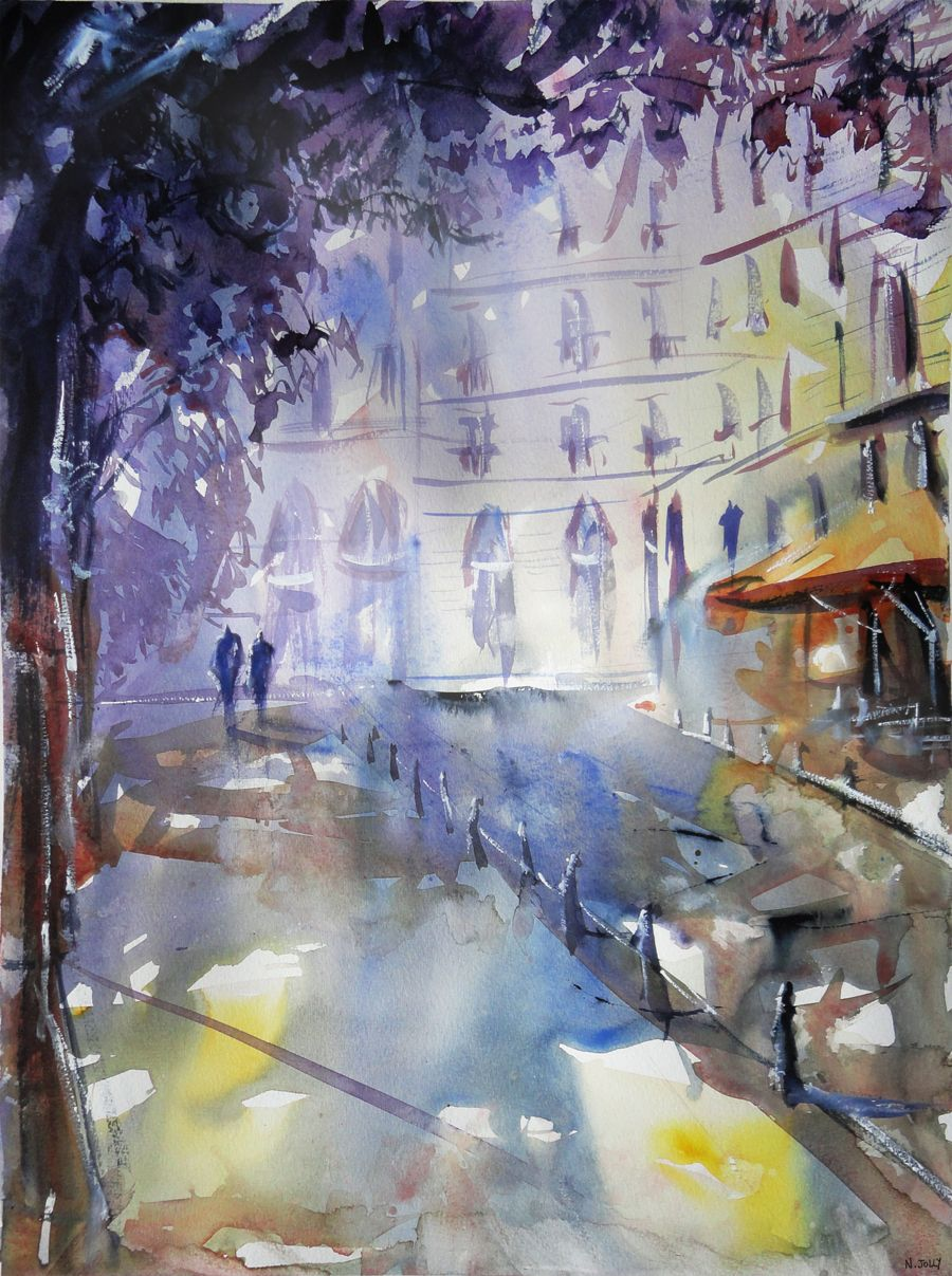 Promenade A L Ombre Watercolor By Nicolasjolly Deviantart Com On