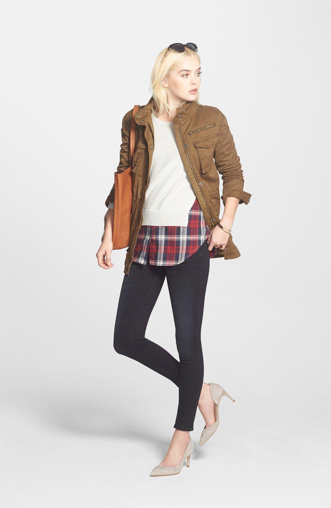 Treasure&Bond Utility Jacket, Layered Sweater & Hudson Jeans Skinny Jeans