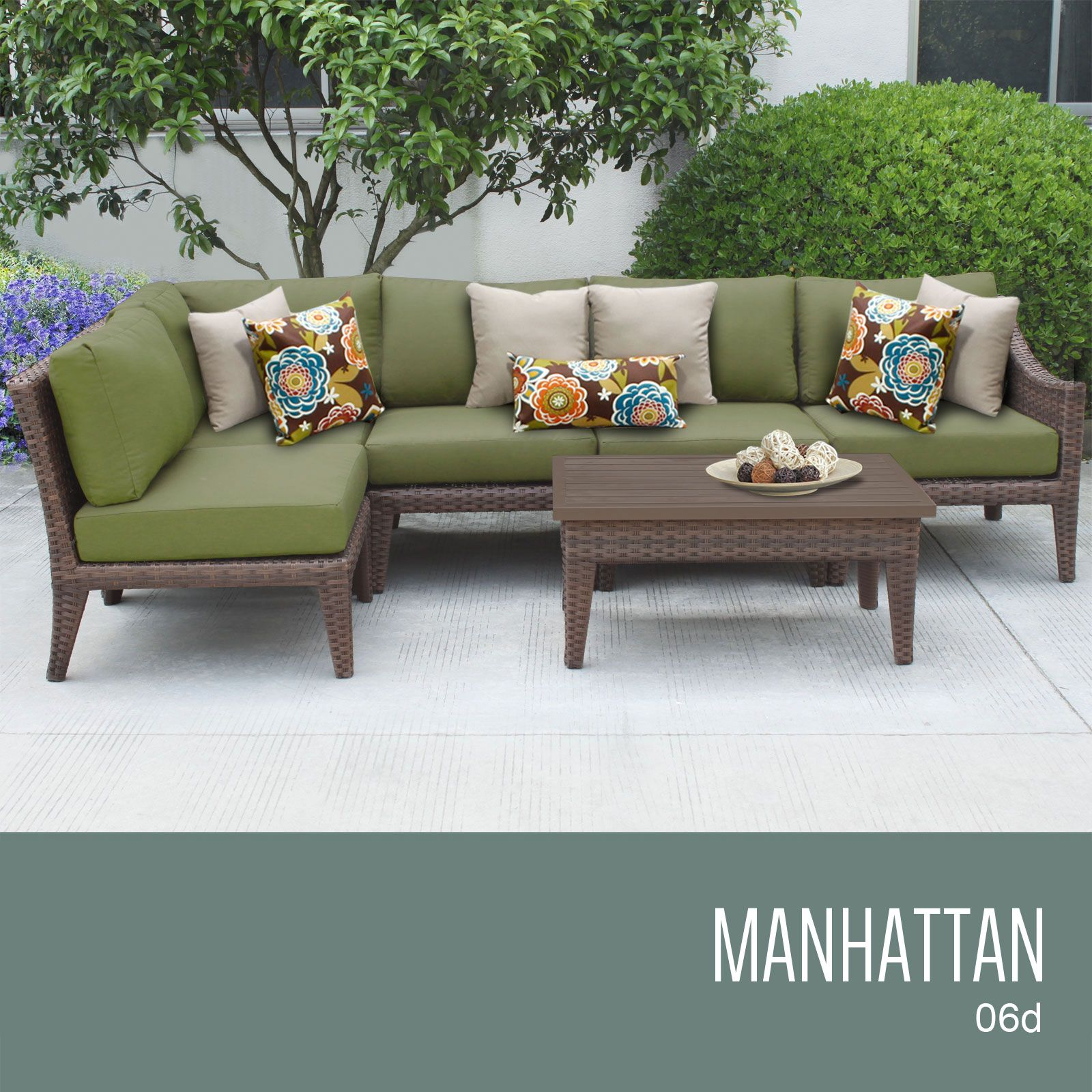 Manhattan Collection   Outdoor Wicker Patio Furniture Set 06d / 6 Piece /  Cilantro