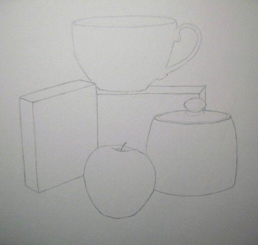 Still Life Drawing Of Object Outlines Still Life Drawing Life Drawing Easy Still Life Drawing