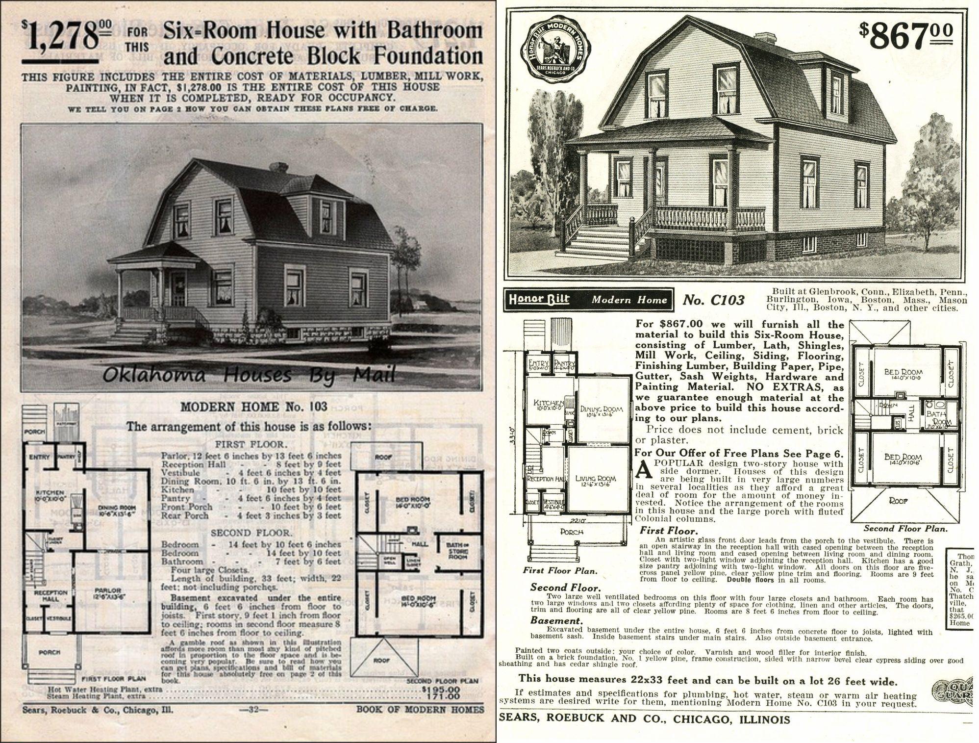 Sears Lucerne 1908 103 1909 1911 103 1912 103 1913 103 1914 1915 1916 264p103 1917 C103 1918 C103 Gambrel Roof Concrete Block Foundation Gambrel