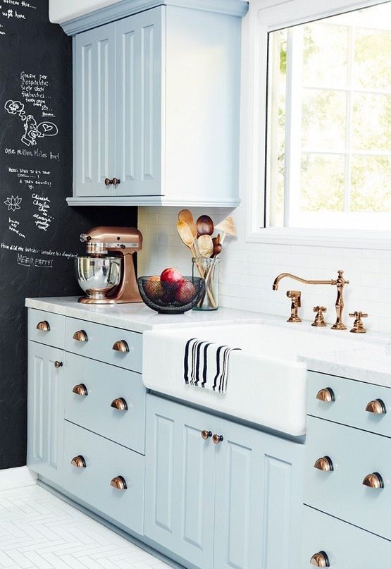 Baby blue kitchen cabinets with copper hardware + accessories ...