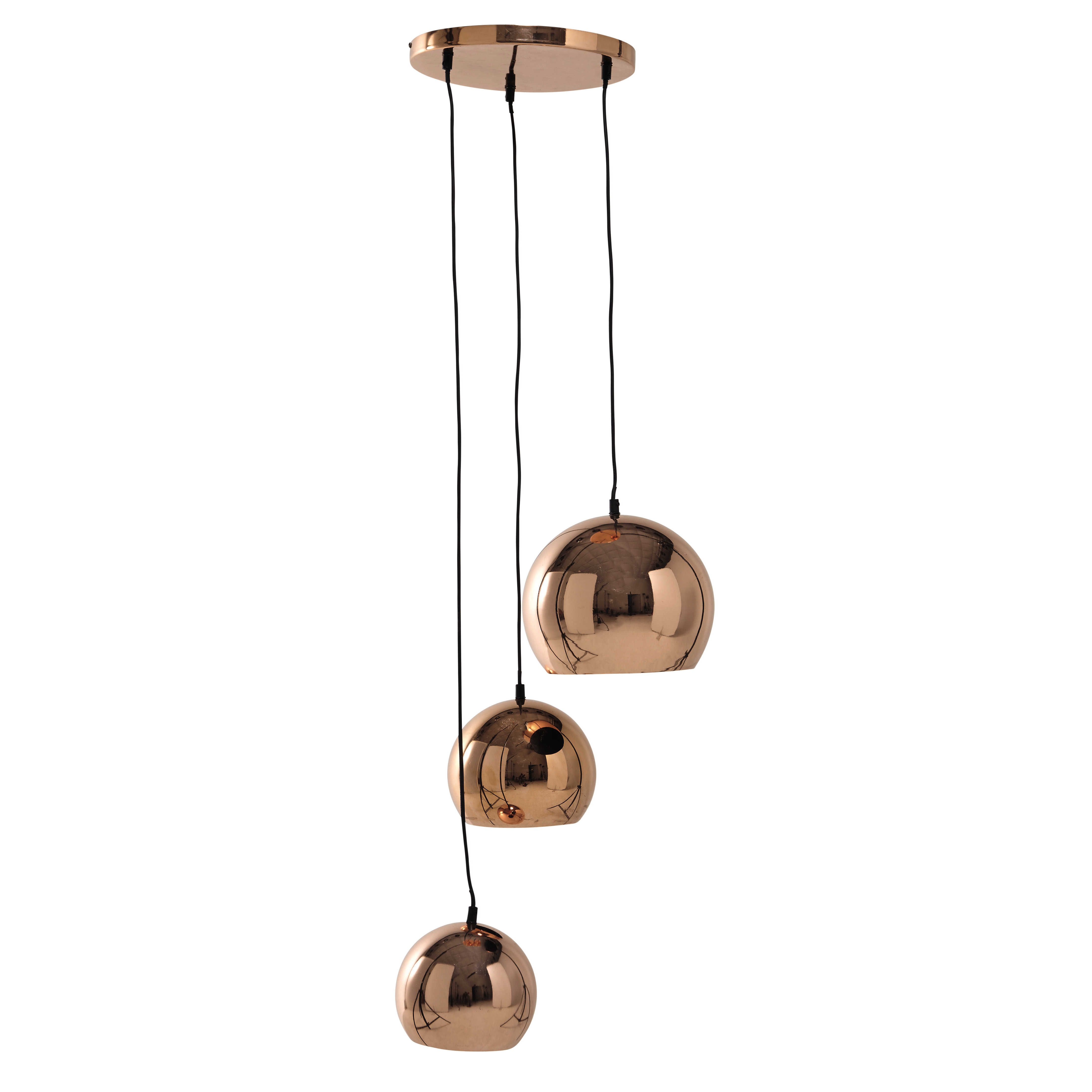 Hängeleuchte CHLOÉ mit 3 Lampenschirmen aus Metall, D 36 cm, kupferfarben